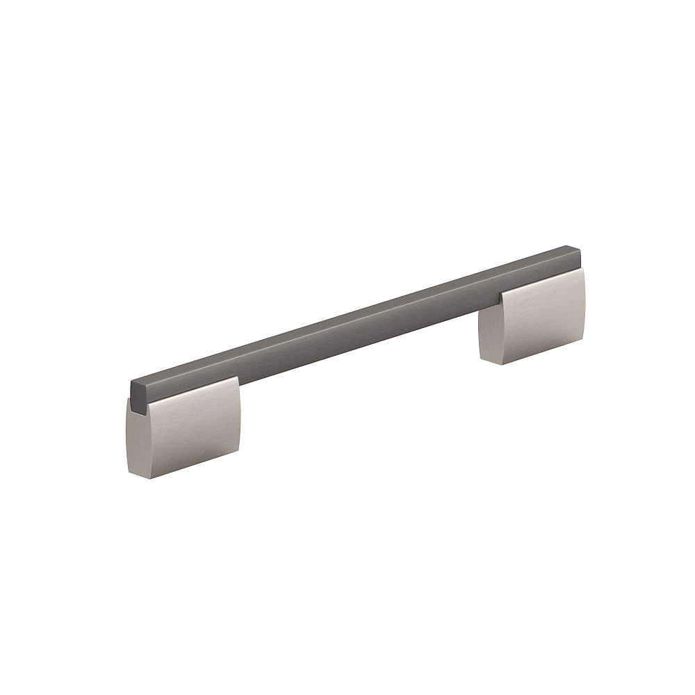 Richelieu Bloomsbury 7 9/16-inch (192 mm) Brushed Black Nickel and Brushed Nickel Contemporary Cabinet Pull