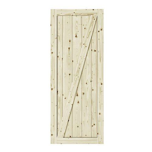 """Porte de grange 1 3/8 '' x 42 """" x 84' Chalet en pin avec traverse en """" Z """""""