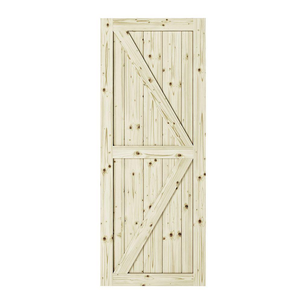 Colonial Elegance 33 inch X 84 inch Artisan K Brace Unfinished Knotty Pine Interior Barn Door Slab