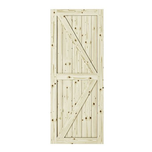 33 inch X 84 inch Artisan K Brace Unfinished Knotty Pine Interior Barn Door Slab