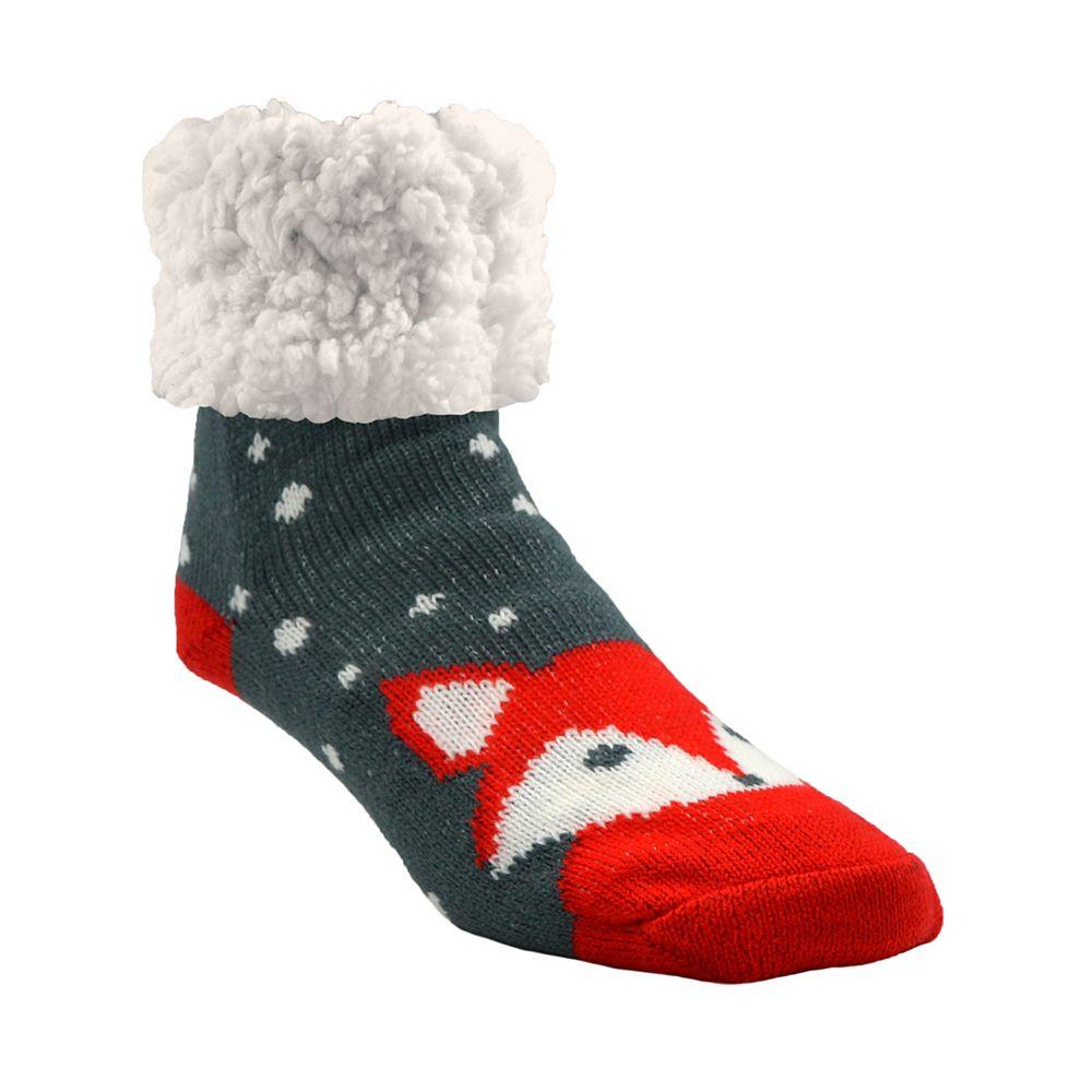 Piika Piika Faux Fur Slipper Socks in Grey Fox