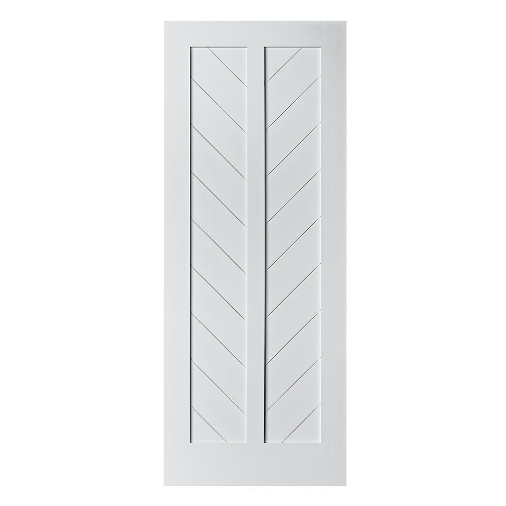 Colonial Elegance 37 inch X 84 inch Chevron MDF Primed White Interior Barn Door Slab