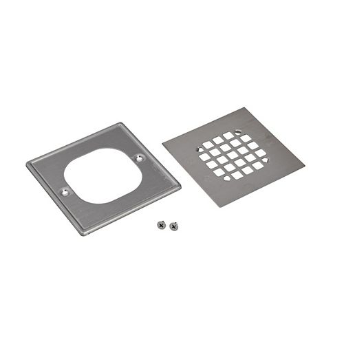 Square Snap In Shower Strainer W/Ring - Brushed Nickel