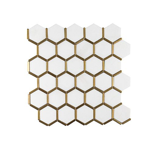 Karats White Honeycomb 10.625-inch x 11.125-inch x 8mm Natural Stone/Metal Mosaic Floor and Wall Tile