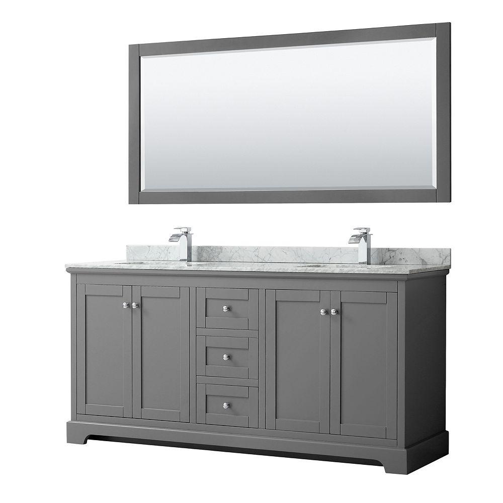 Wyndham Collection Meuble double Avery 72 po en gris foncé, comptoir blanc en marbre Carrare,éviers carrés,miroir 70 po