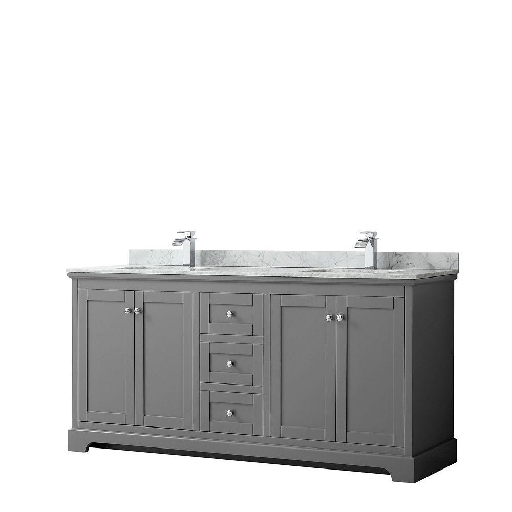 Wyndham Collection Meuble double Avery 72 po en gris foncé, comptoir blanc en marbre Carrare, éviers carrés,sans miroir