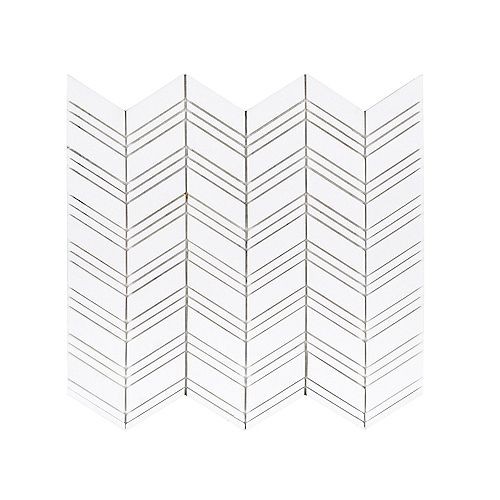 Crystal Canyon White Chevron 12.875-inch x 9.875-inch x 8 mm Natural Stone Mosaic Wall/Floor Tile
