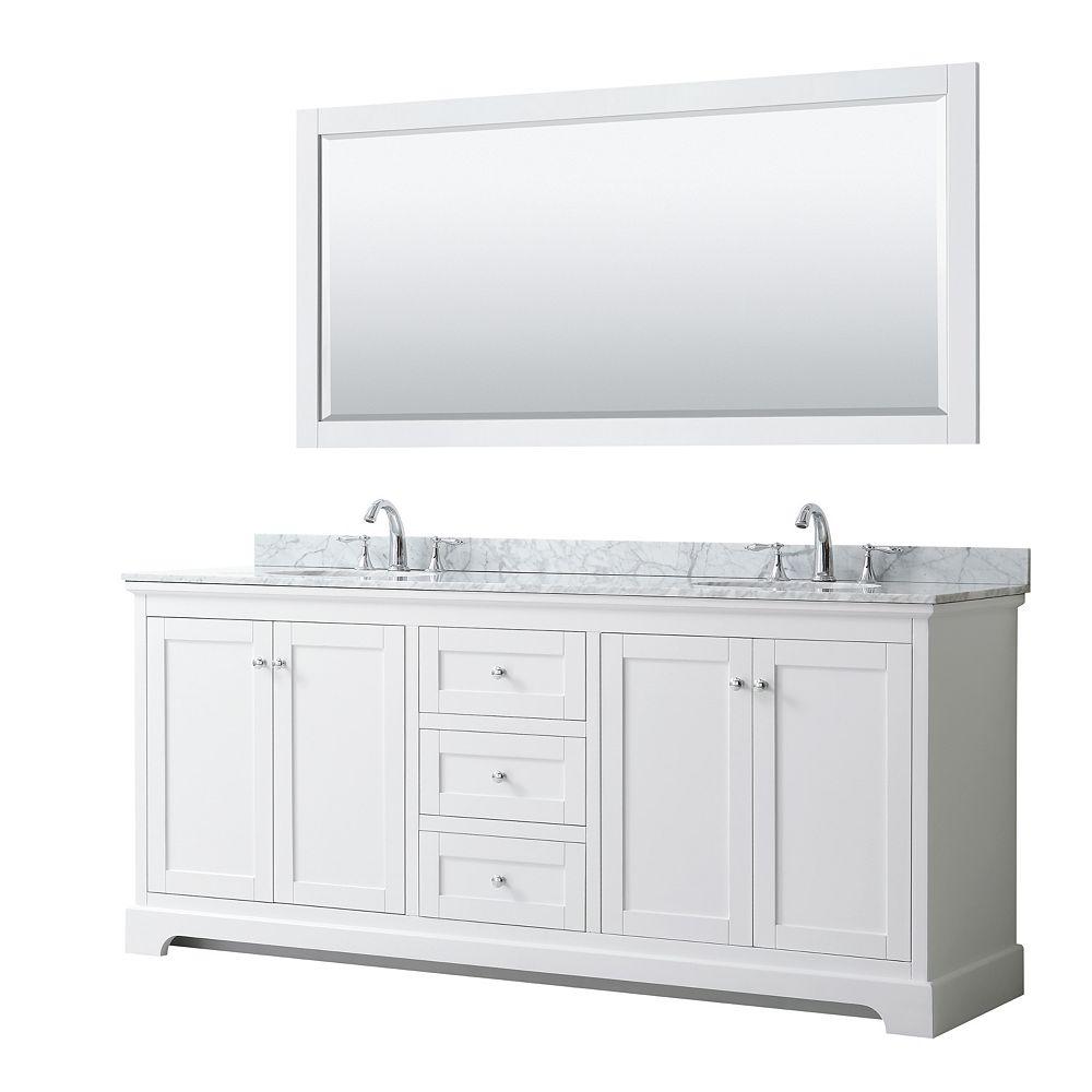 Wyndham Collection Meuble double Avery 80 po en blanc, comptoir blanc en marbre Carrare, éviers ovales, miroir 70 po