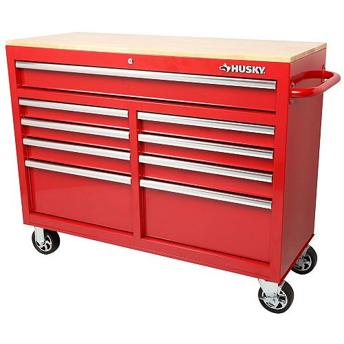 46 inch 9-Drawer Mobile Workbench with Solid Wood Top in Red