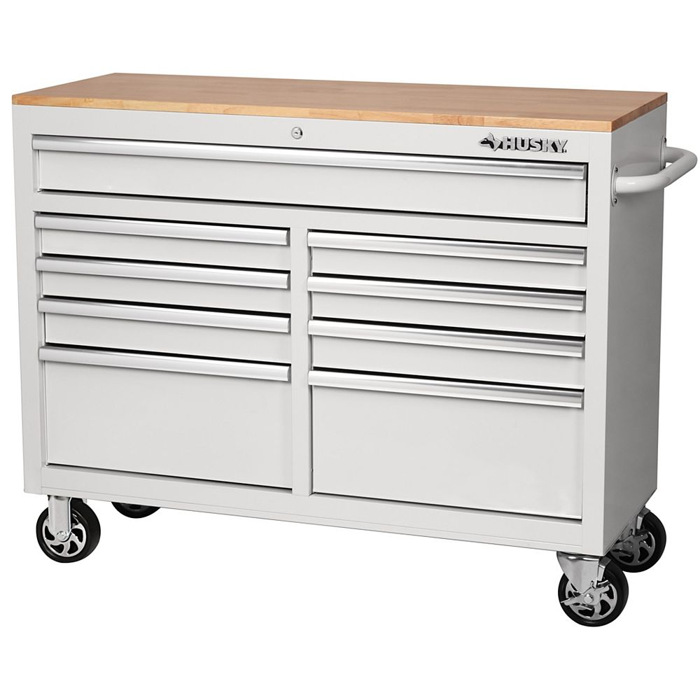 Husky 46-inch 9-Drawer Mobile Workbench with Solid Wood Top in White