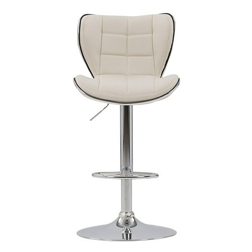 Adjustable Chrome Accented Bar Stool in Oatmeal Fabric, set of 2