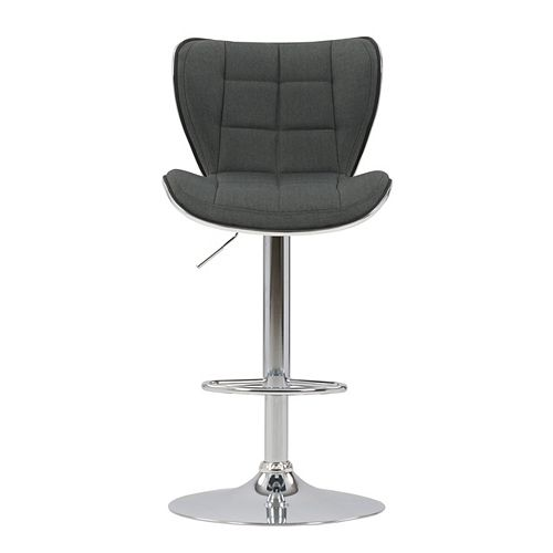 Corliving Adjustable Chrome Accented Bar Stool in Dark Grey Fabric, set of 2