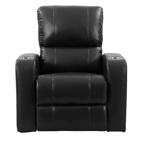 Home Theater Single Power Recliner with Stainless Steel Cup Holders, Black Leather Gel