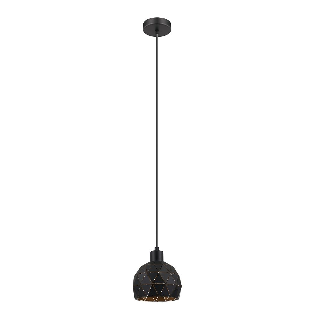 Eglo Roccaforte Mini Pendant Light 1L, Black & Gold Finish