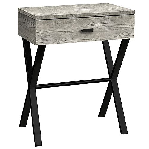Accent Table - 24 Inch H / Grey Reclaimed Wood / Black Metal