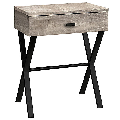 Accent Table - 24 Inch H / Taupe Reclaimed Wood / Black Metal