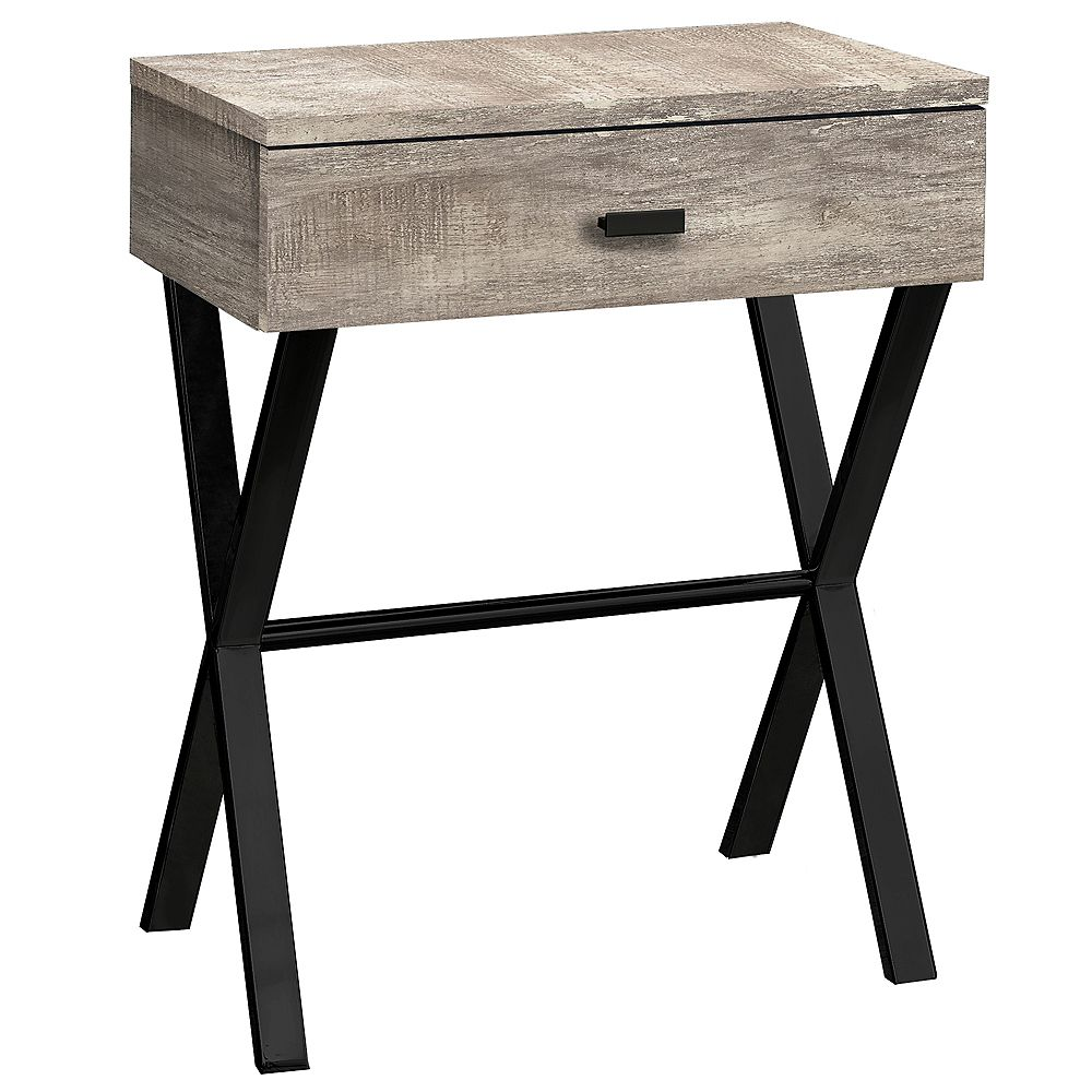 Monarch Specialties Accent Table - 24 Inch H / Taupe Reclaimed Wood / Black Metal
