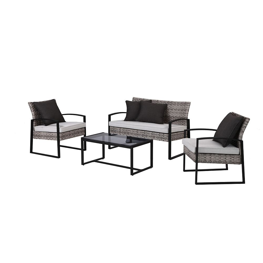 Hampton Bay 4-Piece Victoria Steel Conversation Set
