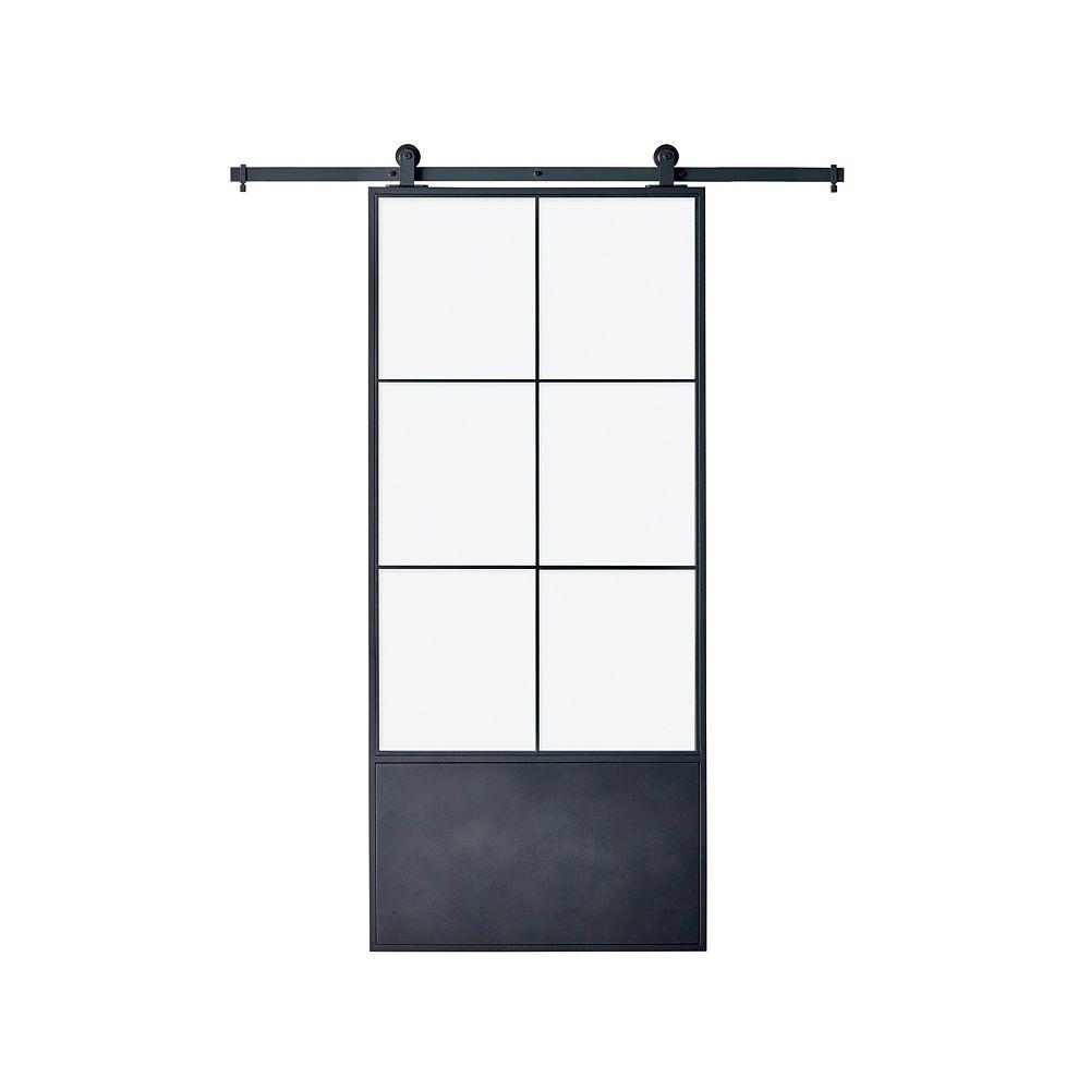 Colonial Elegance 37 po. X 84 po. x 3 po. porte moderne en métal avec 6 panneaux en verre transparent