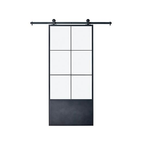 37 inch X4 inch X3 inch Broadway Kit Black Epoxy Coated Steel Frame wih Clear Mirror  Barn Door