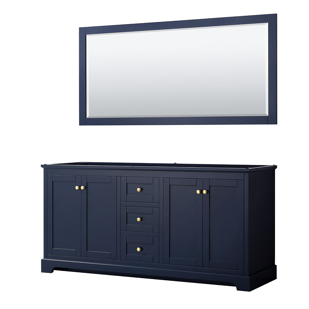 Wyndham Collection Avery 72 Inch Double Bathroom Vanity in Dark Blue, No Countertop, No Sinks, and 70 Inch Mirror