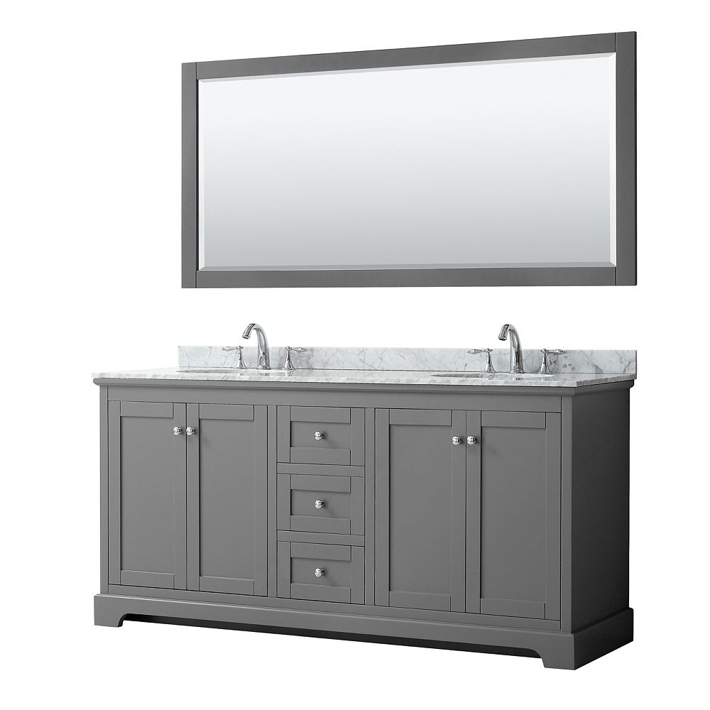 Wyndham Collection Avery 72 Inch Double Vanity in Dark Gray, White Carrara Marble Top, Oval Sinks, 70 Inch Mirror