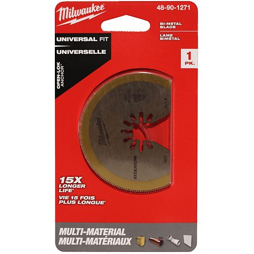 Coupure multi-matériaux à dôme de 3-1/8 pouces Lame oscillante bimétallique revêtue de titane à outils multiples (1 paquet)