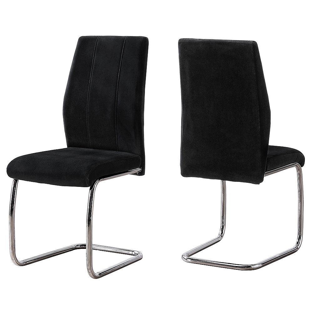 Monarch Specialties Dining Chair - 2Pcs / 39 Inch H / Black Velvet / Chrome
