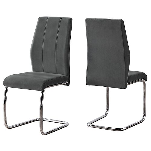 Monarch Specialties Dining Chair - 2Pcs / 39 Inch H / Dark Grey Velvet / Chrome
