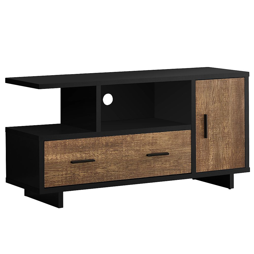 Monarch Specialties Tv Stand - 48 Inch L / Black / Brown Reclaimed Wood-Look