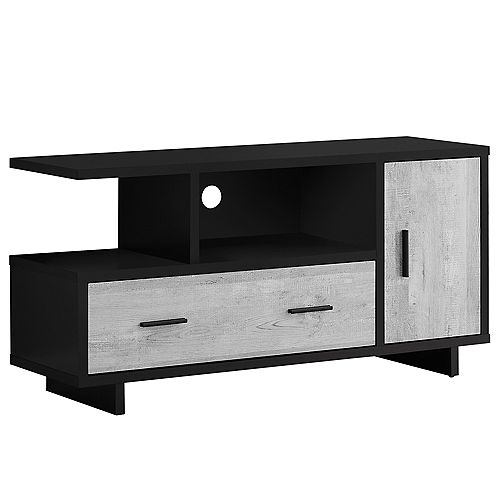 Tv Stand - 48 Inch L / Black / Grey Reclaimed Wood-Look