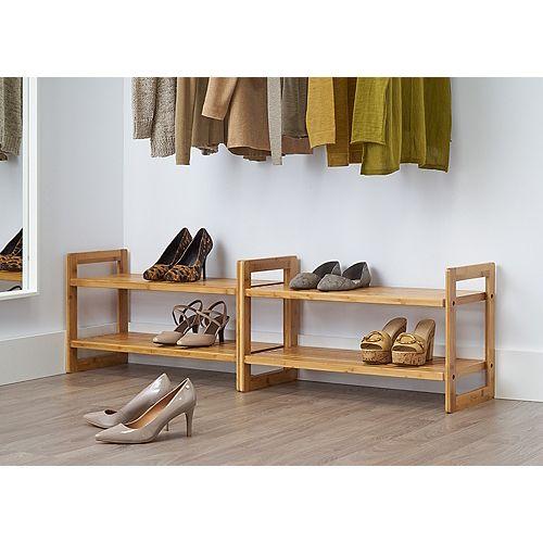 Bamboo Shoe Rack - (2 Pack)