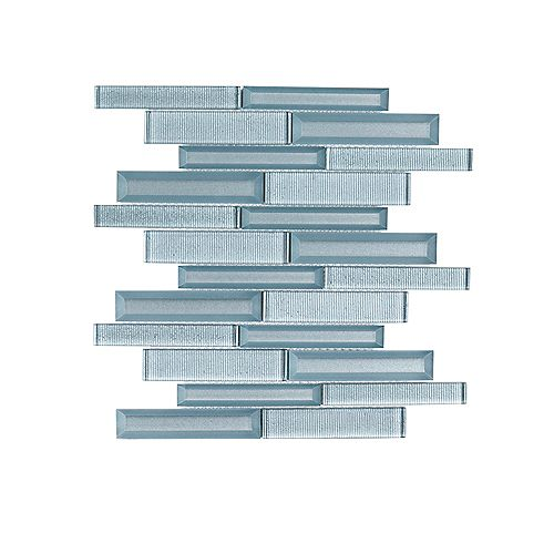 Jeffrey Court Lightbeam Blue Interlocking 10-inch x 11.875-inch x 8 mm Glass Mosaic Tile