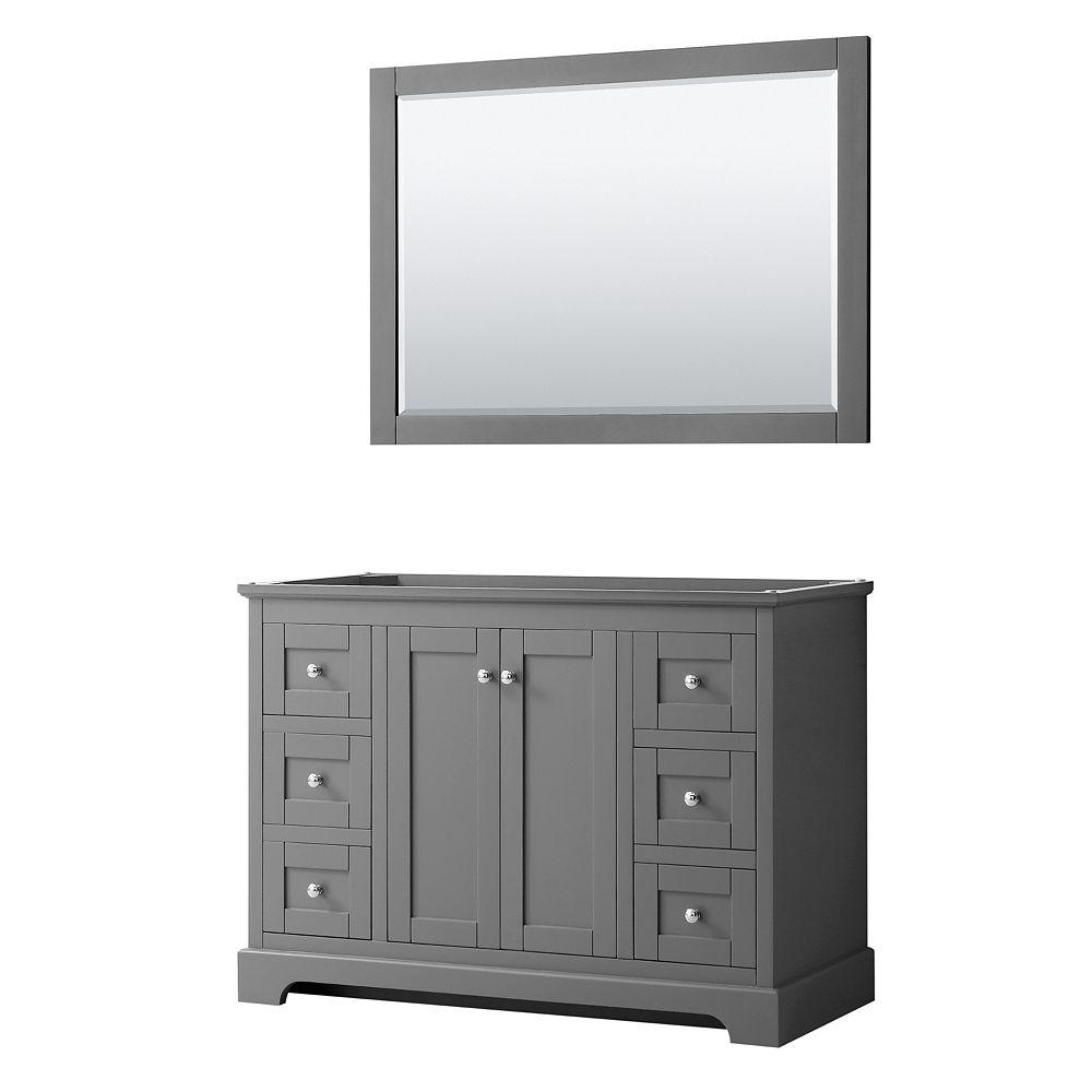 Wyndham Collection Avery 48 Inch Single Bathroom Vanity in Dark Gray, No Countertop, No Sink, and 46 Inch Mirror