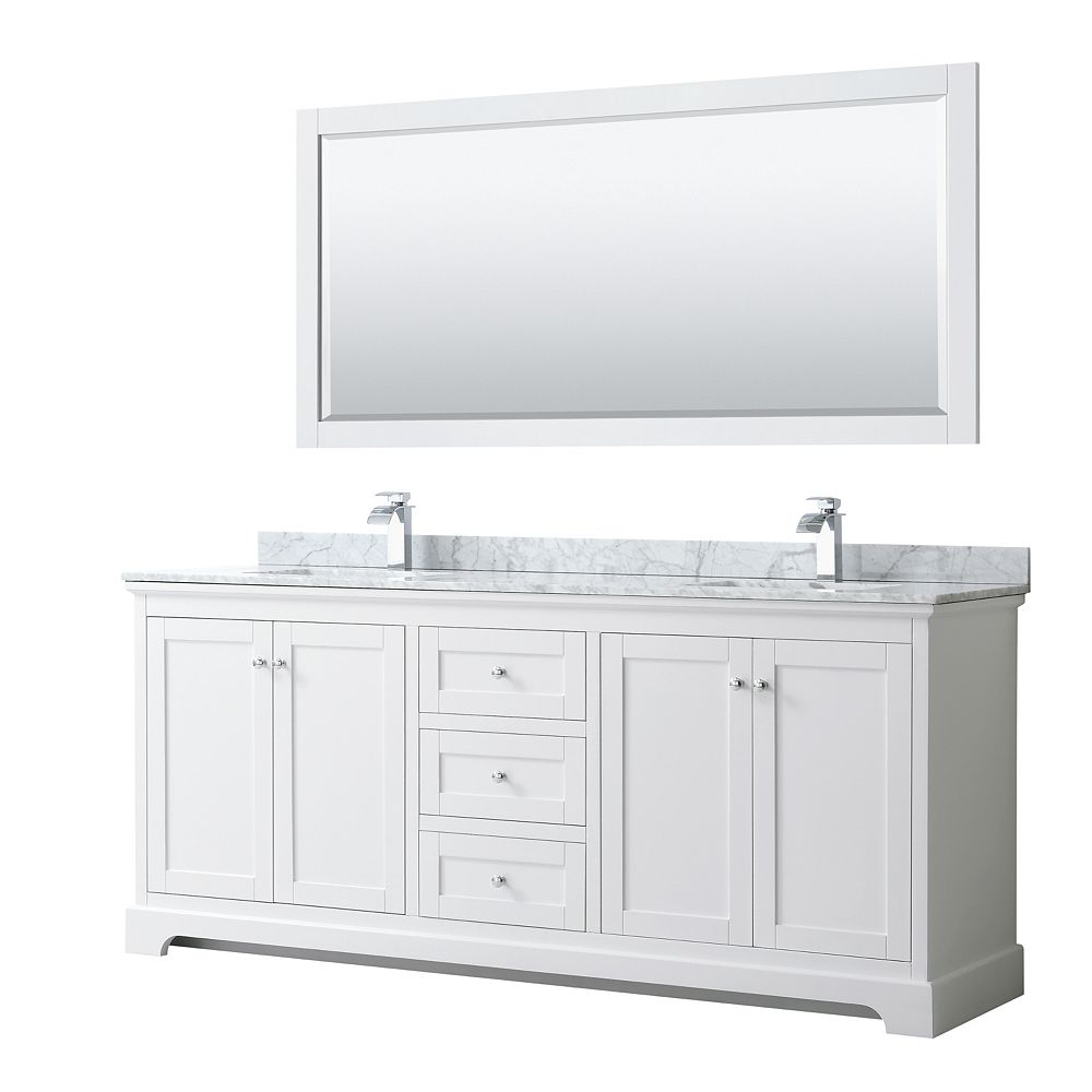 Wyndham Collection Avery 80 Inch Double Vanity in White, White Carrara Marble Top, Square Sinks, 70 Inch Mirror