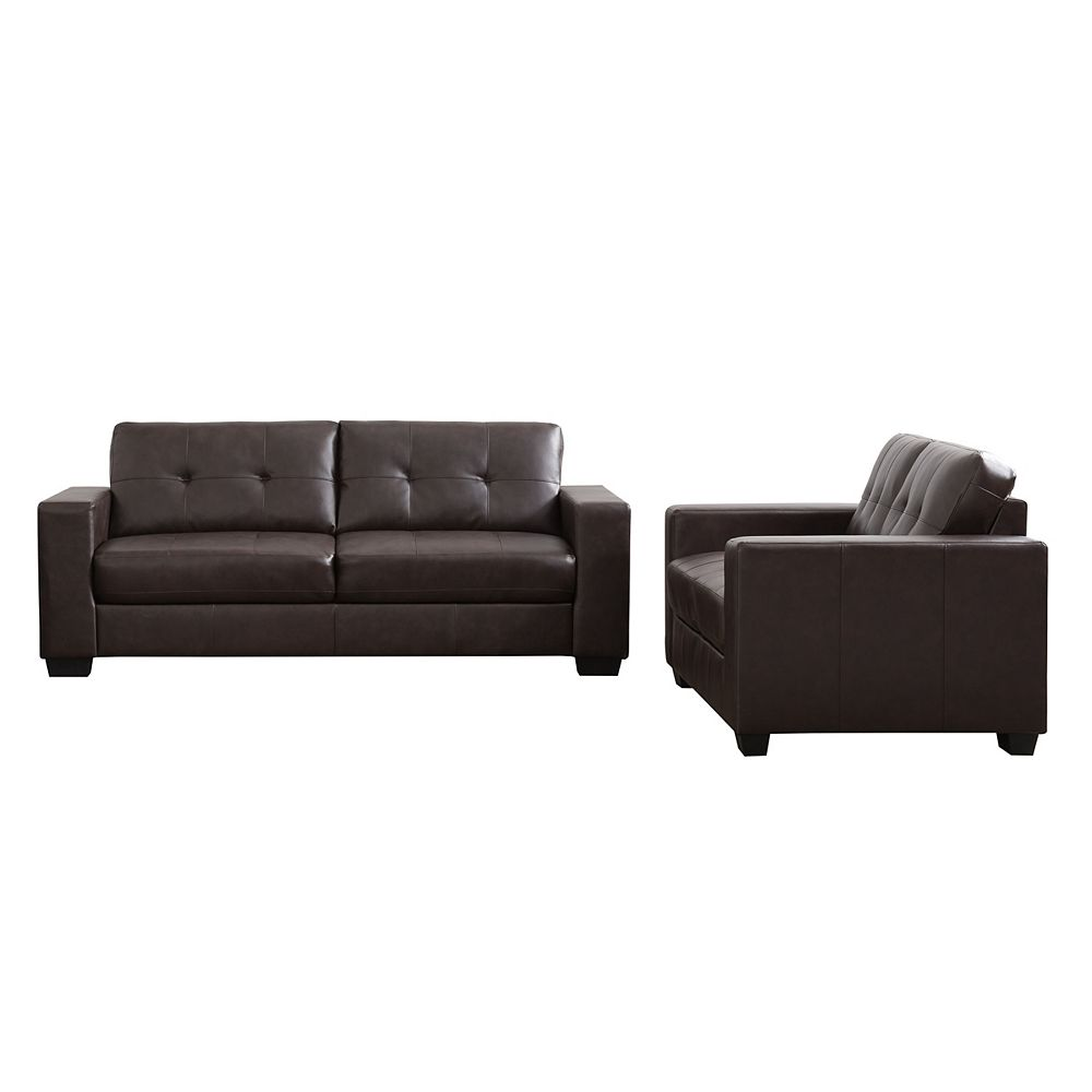Corliving 2-Piece Tufted Seat and Backrest Chocolate Brown Bonded Leather Sofa Set