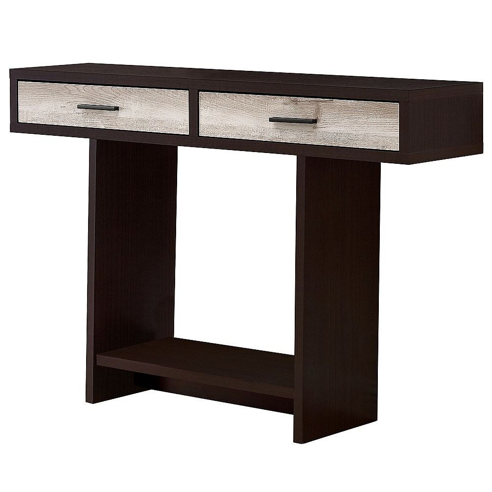 Monarch Specialties Accent Table - 48 Inch L / Cappuccino / Taupe Reclaimed Wood