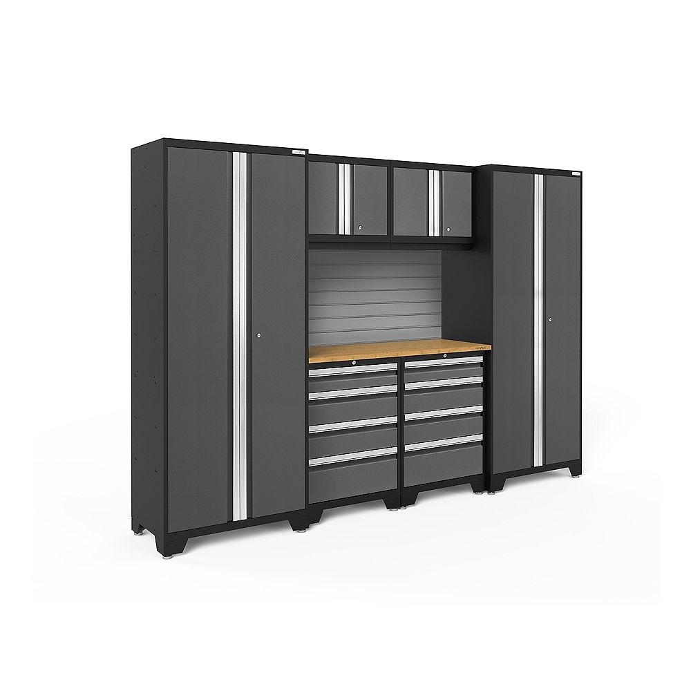 NewAge Products Inc. Bold Series Grey Garage Cabinet Set with Slatwall (7 Piece)