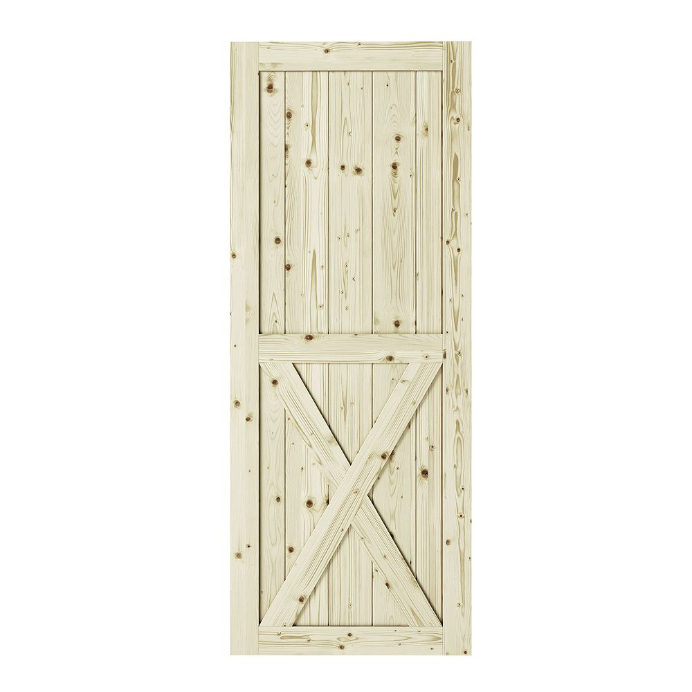 Colonial Elegance 33 inch x 84 inch x1 3/8 inchHalf-Cross X Brace Unfinished Knotty Pine Interior Barn Door Slab