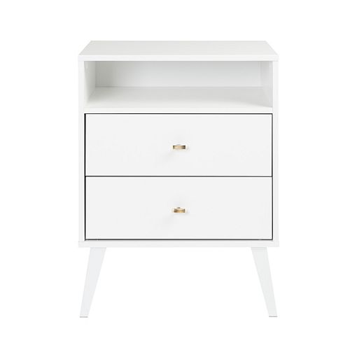 Milo 2-drawer Tall Nightstand with Open Shelf, White