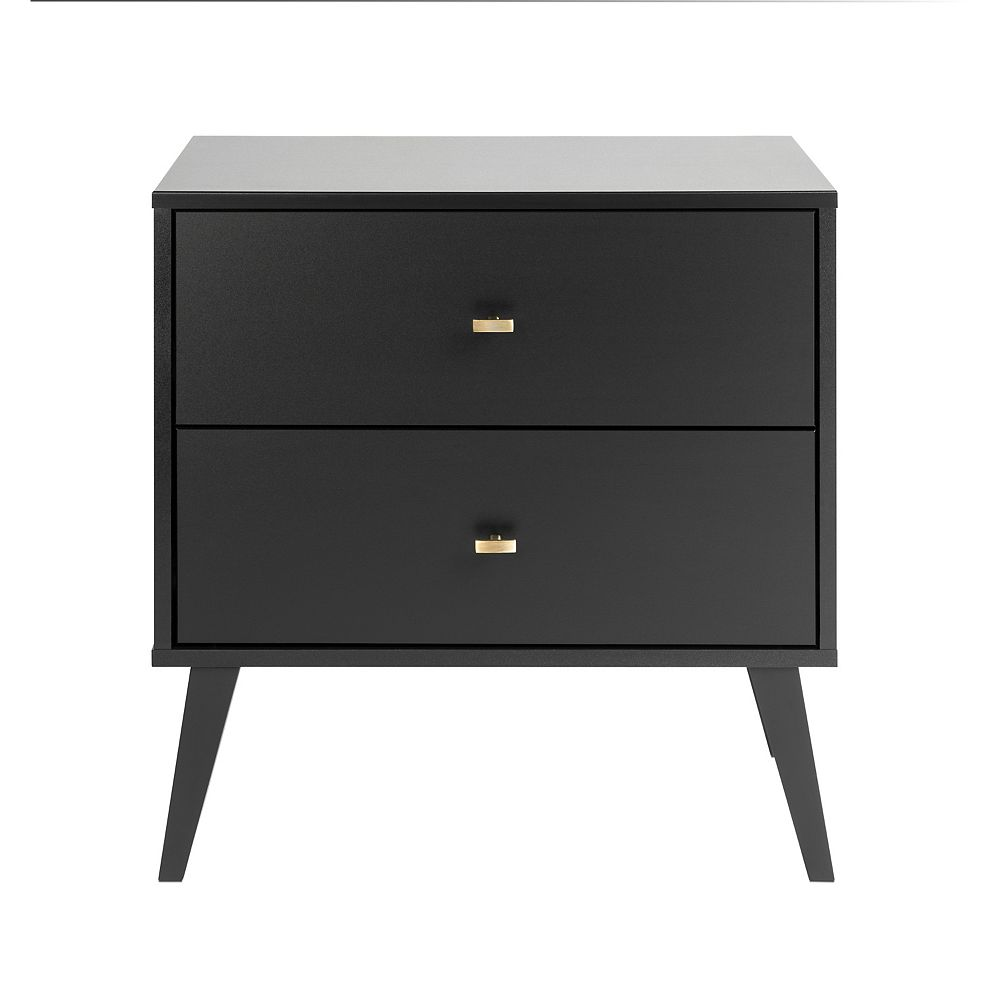 Prepac Milo 2 Drawer Nightstand Black The Home Depot Canada
