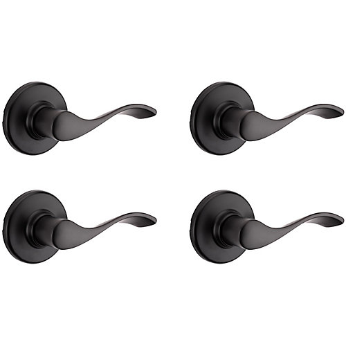 Belmont Interior Reversible Passage Lever Set in Black (4-Pack)