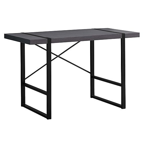 Computer Desk - 48 Inch L / Grey / Black Metal