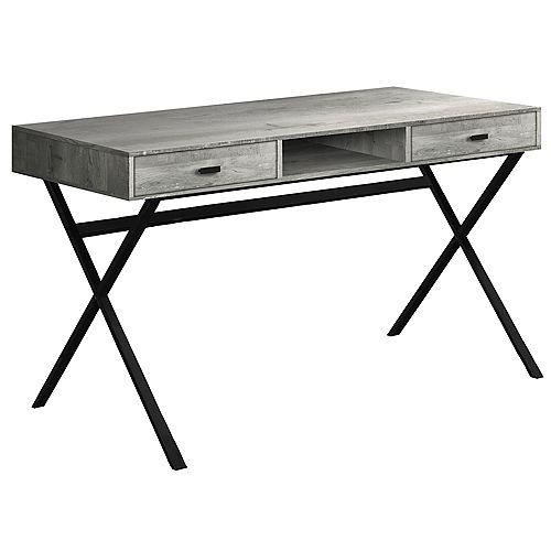 Computer Desk - 48 Inch L / Grey Reclaimed Wood / Black Metal