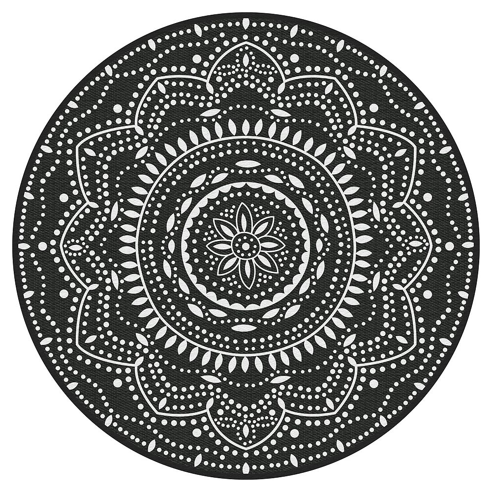 Multy Home Mara Black 6 ft. x 6 ft. Round Polyweave Outdoor Rug