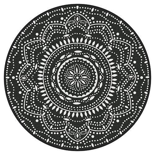 Mara Black 6 ft. x 6 ft. Round Polyweave Outdoor Rug