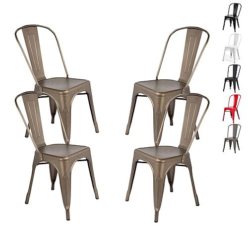 Industrial Metal Dining Chair with High Backrest - Gun Metal - Set of 4