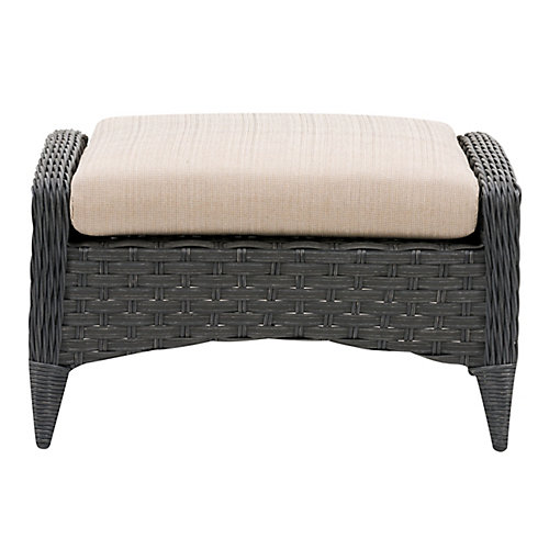 CorLiving Wide Rattan Wicker Patio Foot Stool, Distressed Charcoal Grey with Textured Beige Cushion