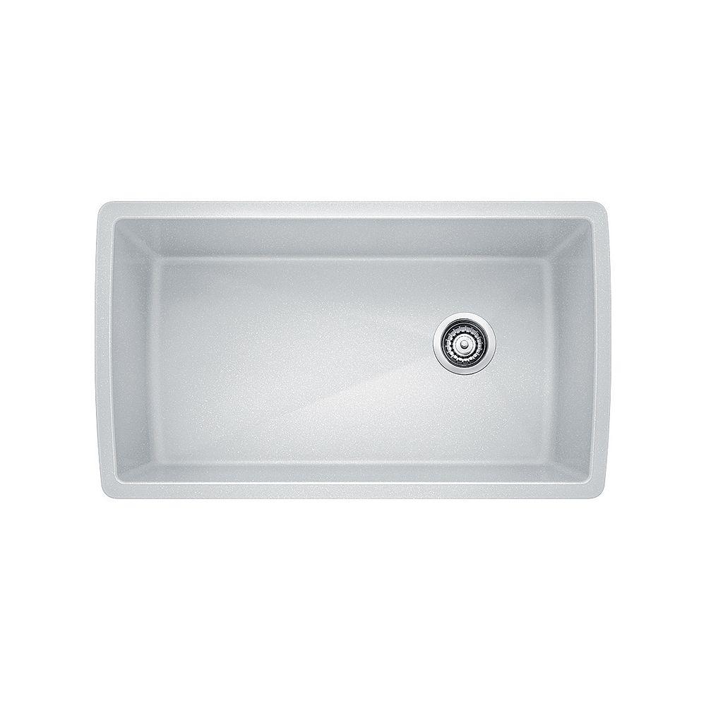Blanco DIAMOND U SUPER SINGLE, Large Single Bowl Undermount Kitchen Sink, SILGRANIT White