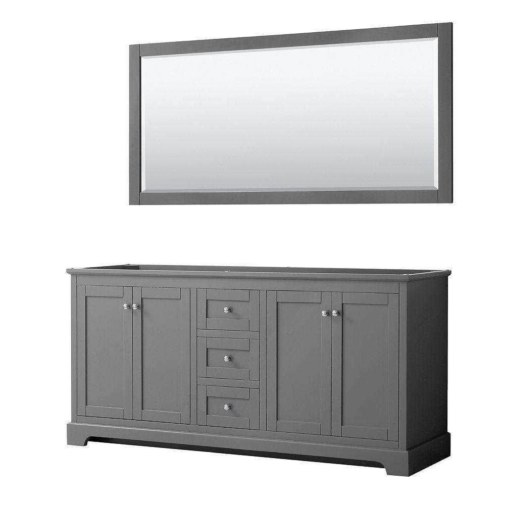 Wyndham Collection Avery 72 Inch Double Bathroom Vanity in Dark Gray, No Countertop, No Sinks, and 70 Inch Mirror